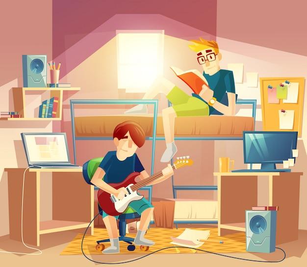 Dortoir avec colocataires, couchette, ordinateurs, table, haut-parleurs, étagères Vecteur gratuit