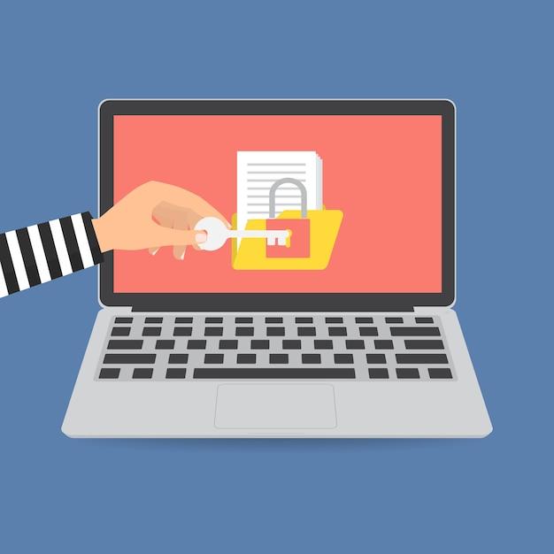 Dossier de verrouillage de voleur de voleur pour la rançon Vecteur Premium