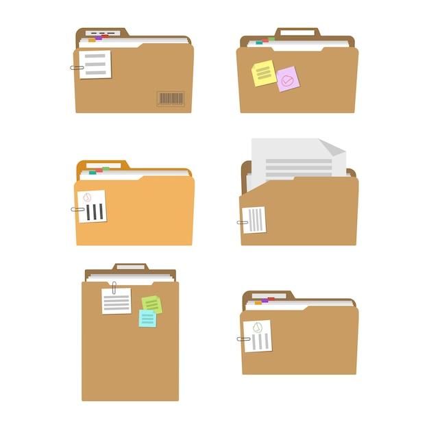 Dossiers Contenant Des Documents, Des Plans Et Des Tâches Vecteur Premium