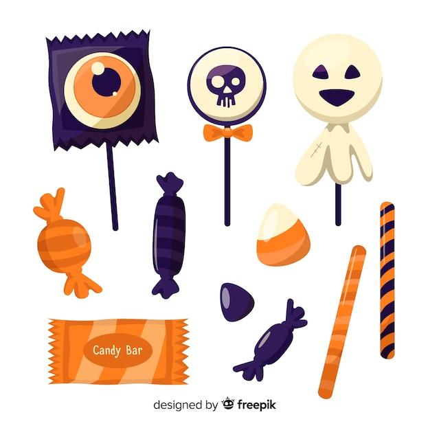 Douce collection de délicieux bonbons d'halloween Vecteur gratuit