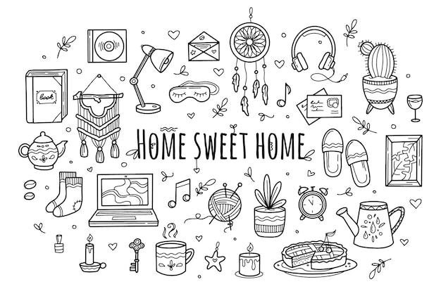 Douce Maison Confortable Dans Le Style De Doodle Dessin à La Main Vecteur Premium