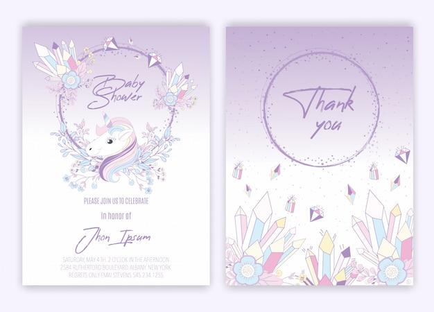 Douche de bébé de décor de licorne floral de carte de licorne. Vecteur Premium