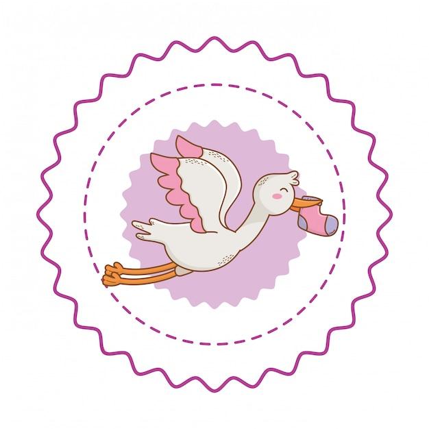 Douche de bébé mignonne belle illustration Vecteur Premium