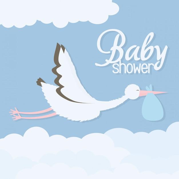 Douche de bébé. oiseau cigogne volant avec sac Vecteur gratuit