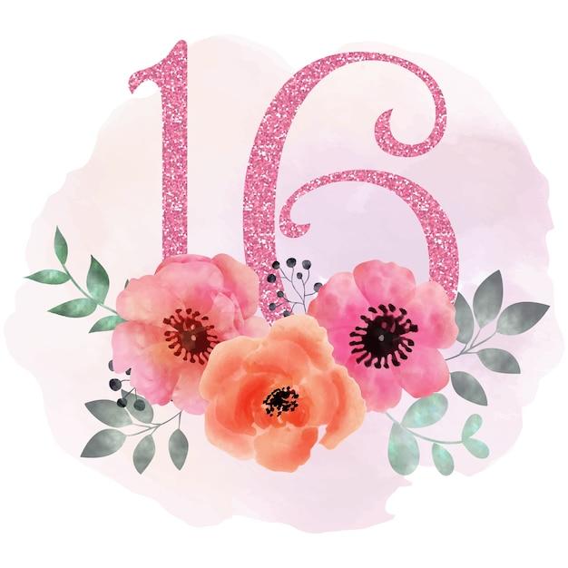 Doux 16 fond floral Vecteur Premium