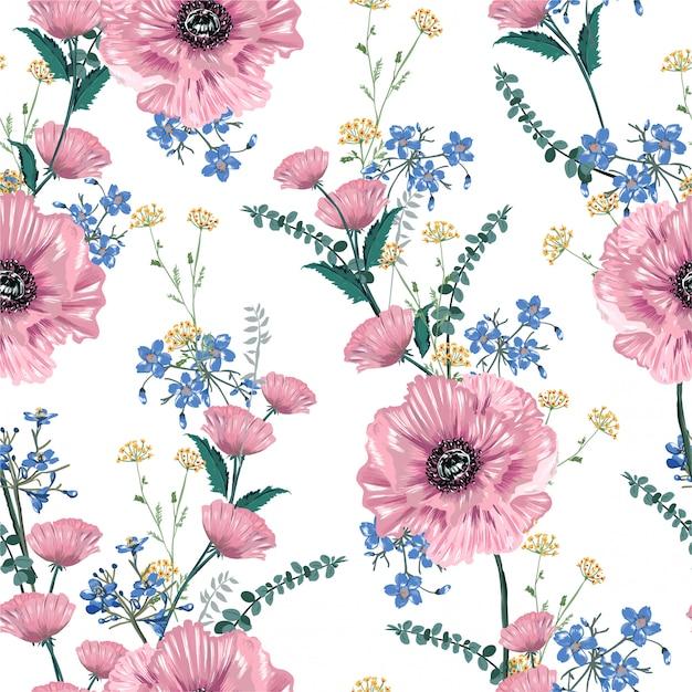 Doux et doux des fleurs de pavot rose épanouies et illustration de motif sans soudure de fleurs de jardin Vecteur Premium