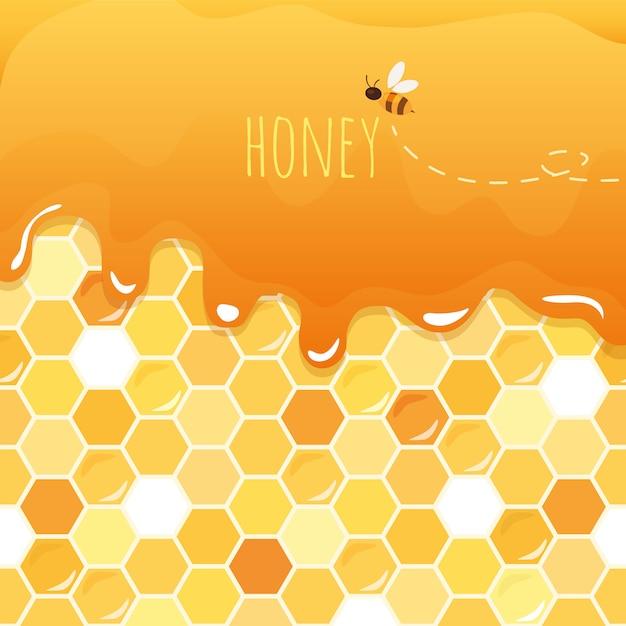 Doux miel brillant avec nid d'abeille. Vecteur Premium