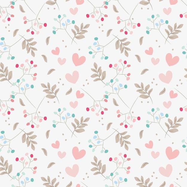 Doux motif floral et coeurs sans soudure. Vecteur Premium
