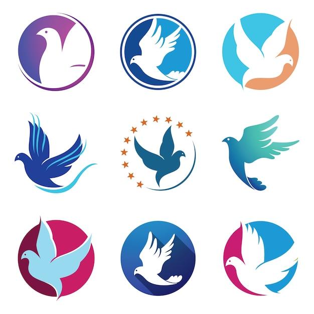 Dove pigeon bird fly ailes logo symbole Vecteur Premium