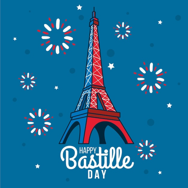 Draa Avec Bastille Day Vecteur Premium