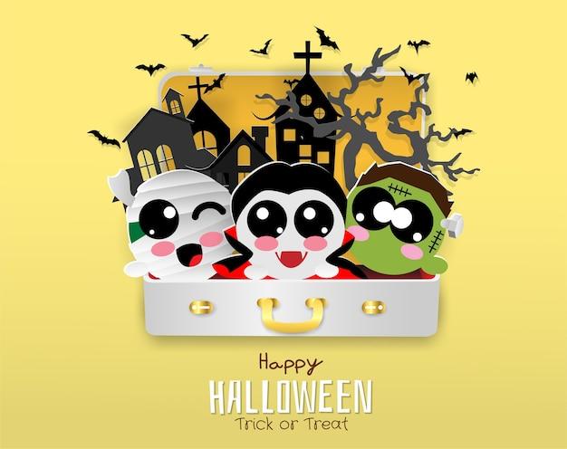 Dracula, chauve-souris, maman, zombie dans un sac de voyage, halloween, astuce ou friandise Vecteur Premium