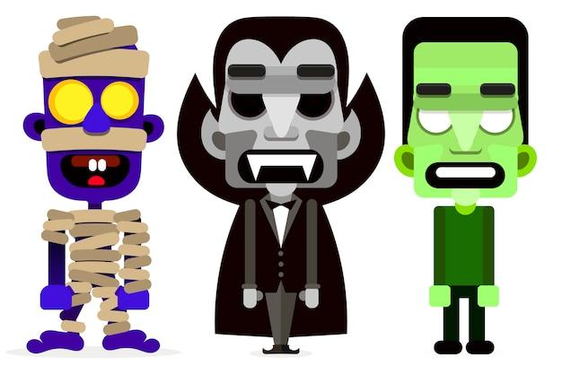Dracula la série de monstres momie et zombie. Vecteur Premium