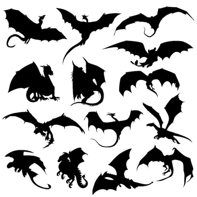 Dragon animal mithogoly silhouette clip art vecteur Vecteur Premium