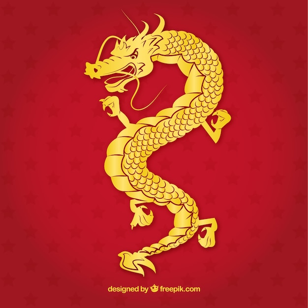 Dragon chinois traditionnel avec design de la silhouette Vecteur gratuit