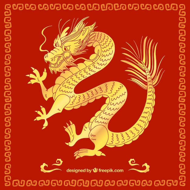 Dragon Chinois Traditionnel Dessiné à La Main Vecteur Premium