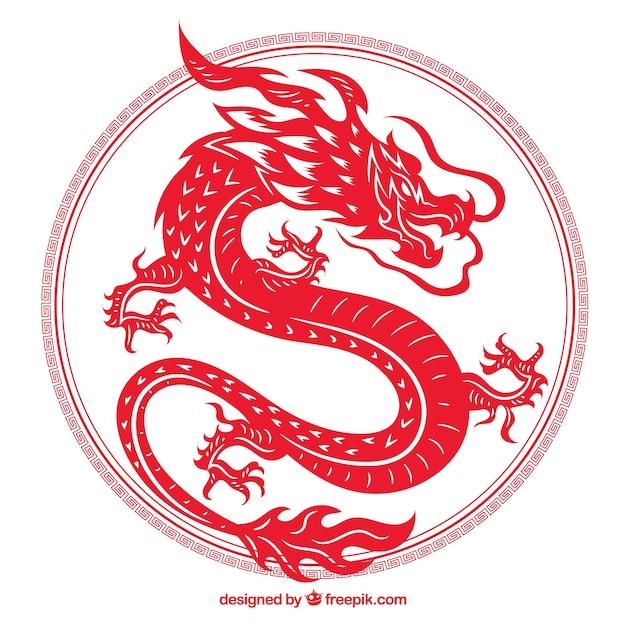 Dragon Chinois Traditionnel Dessiné à La Main Vecteur Premium