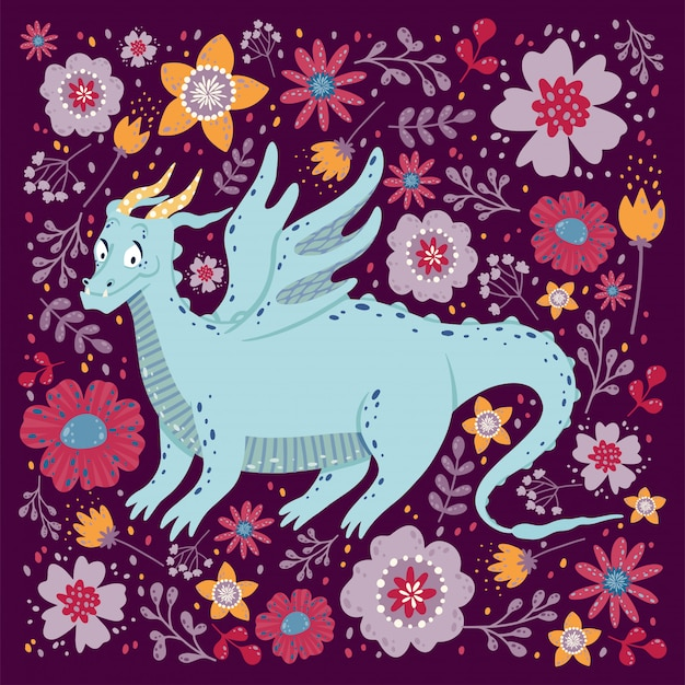 Dragon Avec La Conception De Cartes De Fleurs. Enfantin Avec Un Dragon Dans Un Cadre Carré. Vecteur Premium