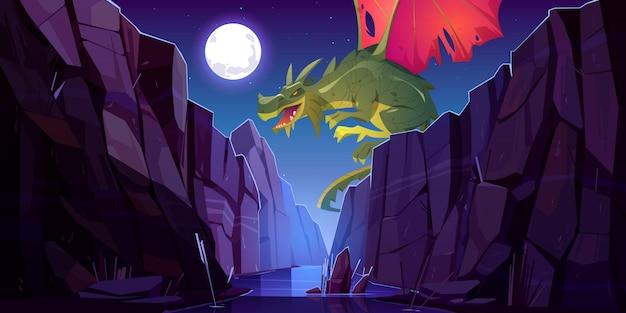 Dragon De Conte De Fées Volant Au-dessus De La Rivière Dans Le Canyon La Nuit Vecteur gratuit