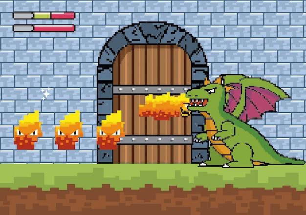 Dragon crache du feu et du caractère à la porte du château Vecteur gratuit