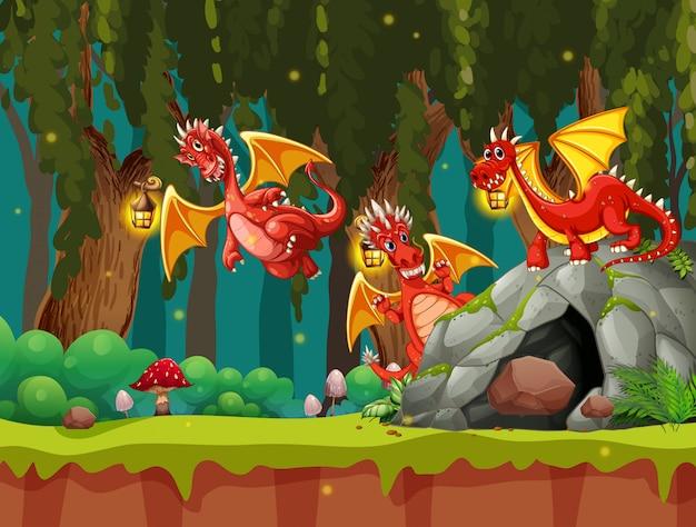 Un dragon dans la sombre forêt Vecteur gratuit