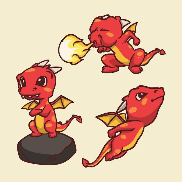 Le Dragon De Dessin Animé Animal était Debout Sur Un Rocher, Crachant Du Feu Et Volant Une Illustration De Mascotte Mignonne Vecteur Premium