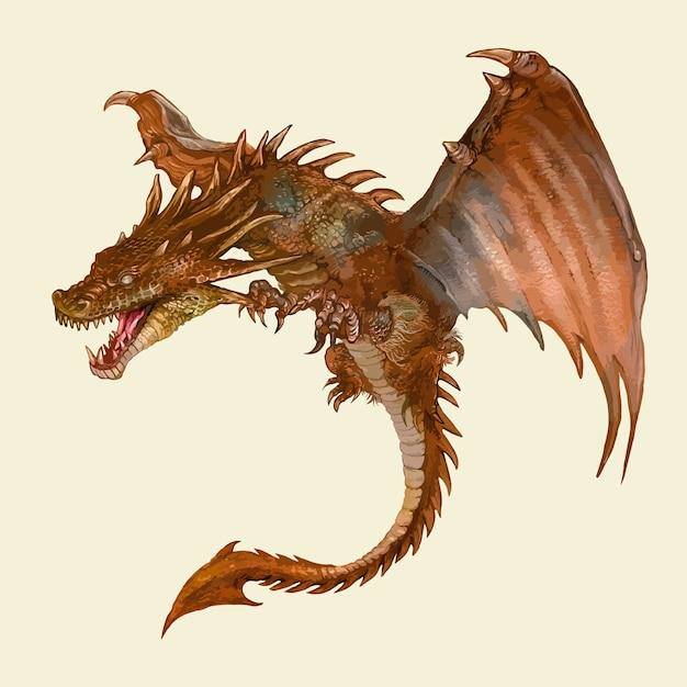 Dragon dessiné à la main Vecteur gratuit