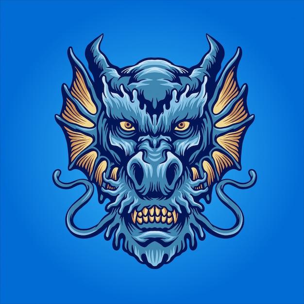 Le dragon d'eau bleu Vecteur Premium