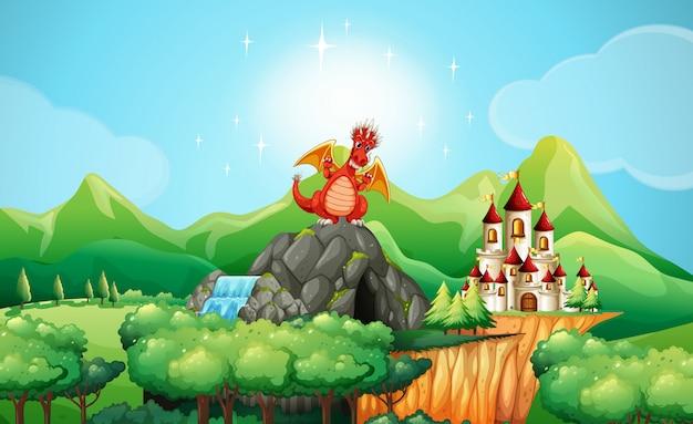 Dragon Sur La Grotte Par Le Château Vecteur Premium