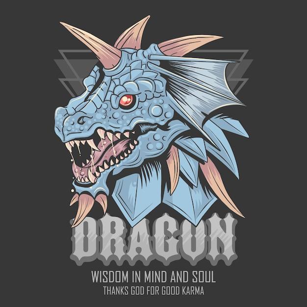 Dragon head vector bleu monster Vecteur Premium