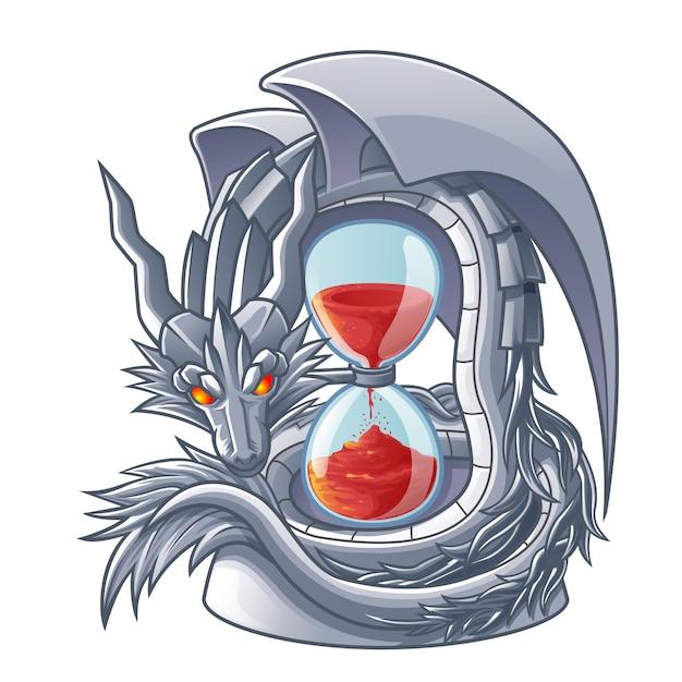 Dragon isolé de vecteur de sablier. Vecteur Premium