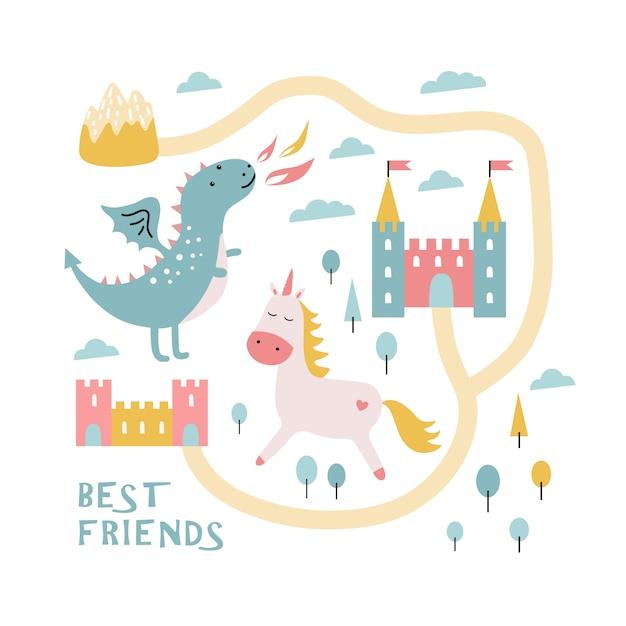 Dragon mignon, château, licorne. meilleurs amis. Vecteur Premium