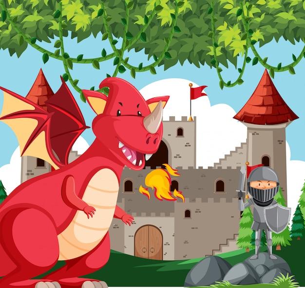 Dragon avec scène de chevalier Vecteur gratuit