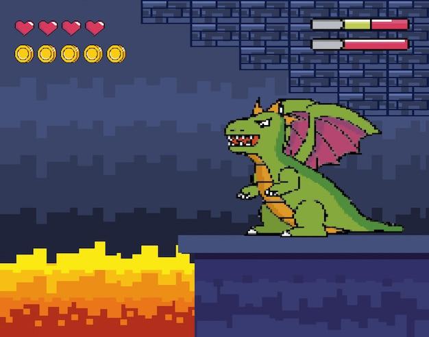 Dragon Avec Scène De Feu Et Pièces De Monnaie Avec Barres De Coeurs Vecteur gratuit