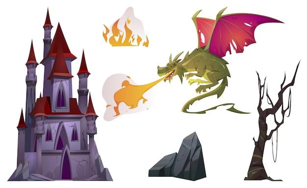 Dragon Souffle Avec Feu, Vieux Château, Arbre Et Jeu De Dessin Animé De Roche Vecteur gratuit