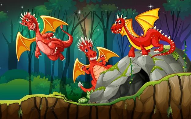 Dragon en terre magique Vecteur Premium