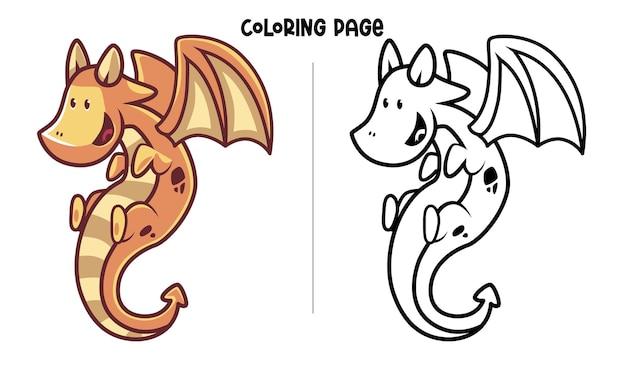 Dragon Volant Jaune Brun. Coloriage Imprimable Et Livre De Coloriage Vecteur Premium