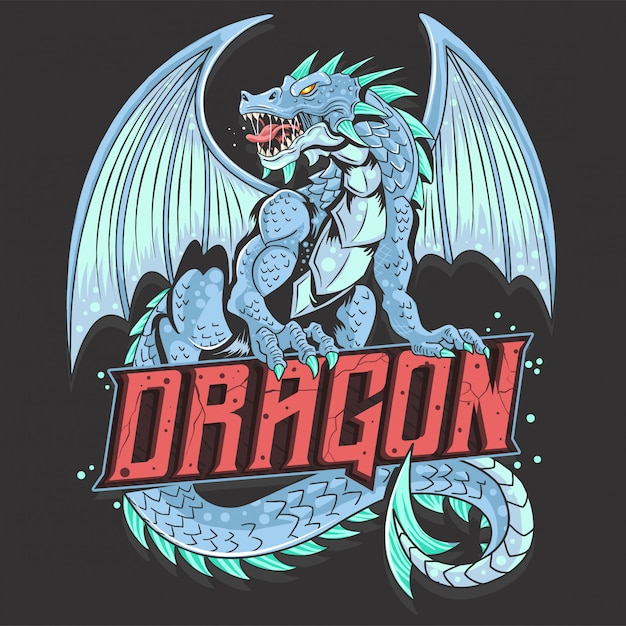 Dragon wings beast face Vecteur Premium