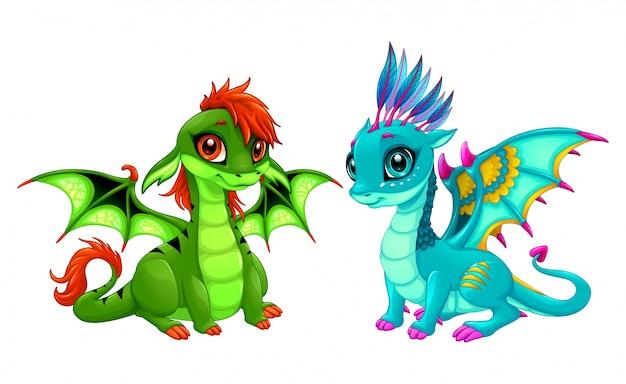 Dragons De Bébé Avec Des Yeux Mignons Vecteur gratuit