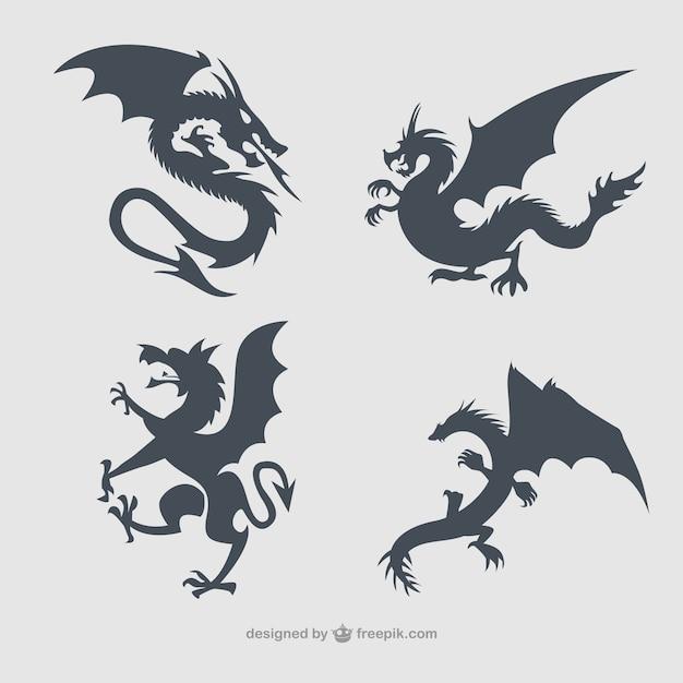 Dragons collection silhouettes Vecteur gratuit
