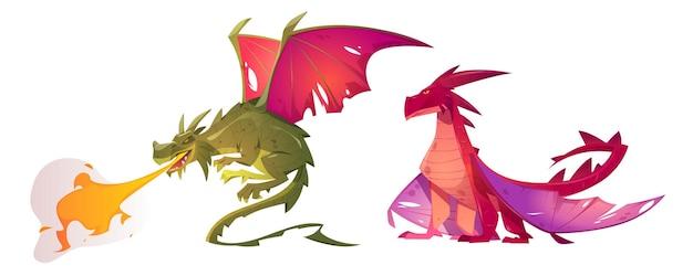 Dragons De Contes De Fées Vecteur gratuit