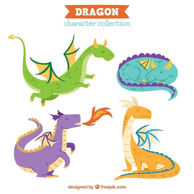 Dragons Dessinés à La Main Avec Un Style Charmant Vecteur gratuit