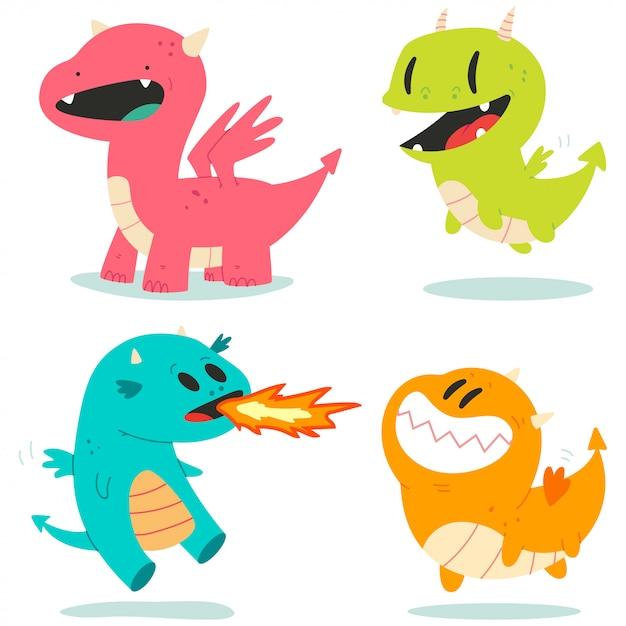 Dragons Mignons Vector Personnages De Dessins Animés Mis Isolés. Vecteur Premium