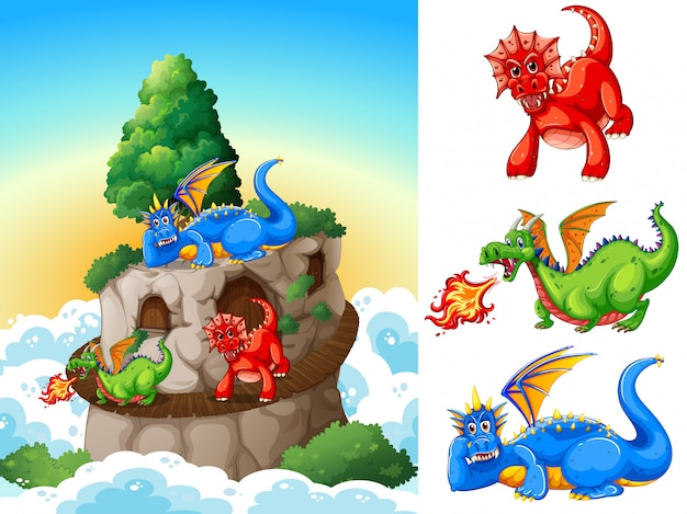 Dragons à la tour illustration Vecteur gratuit
