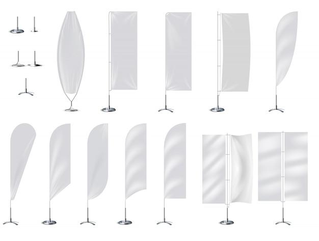 Drapeau 3d Bannière Réaliste Maquette Sur Blanc Vecteur Premium