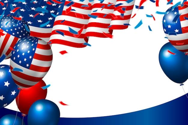 Drapeau américain ou américain et ballon sur fond blanc Vecteur Premium