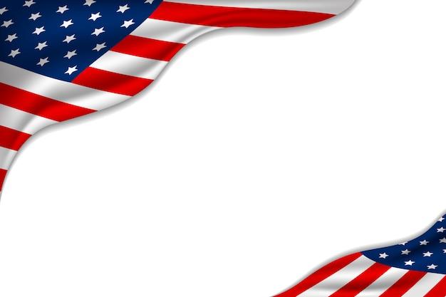 Drapeau américain ou américain sur fond blanc Vecteur Premium