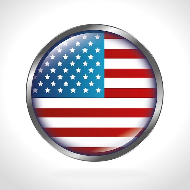 Drapeau Américain Arrondi Vecteur gratuit