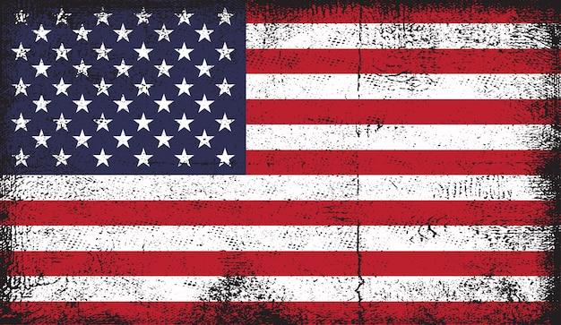 Drapeau Américain Dans Le Style Grunge Vecteur Premium