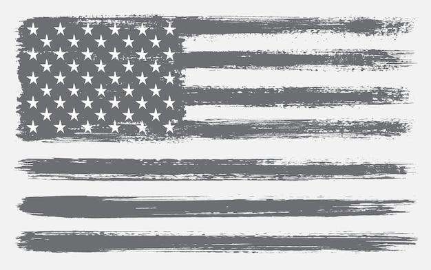 Drapeau Américain Fait Avec Des Pinceaux Vecteur Premium