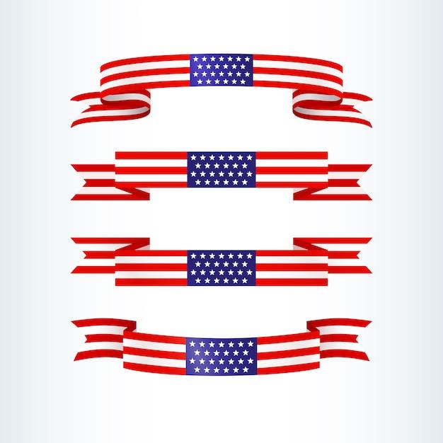 Drapeau américain ruban étoiles rayures patriotique thème américain drapeau usa Vecteur Premium